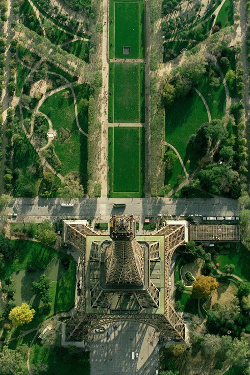 Looking down on the Eiffel Tower