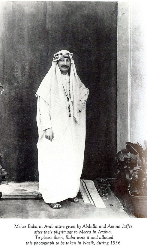 In late 1936 Meher Baba travelled to the Middle East but it is unknown whether he wore a costume like in this photo,