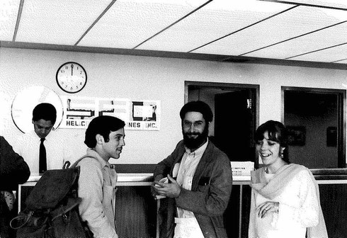 Robert Dreyfuss and Ursula Reinhart with Ed van Buskirk at San Francisco Airport April 1969. They were all flying to NY then onto India for the Darshan. ; Photo taken by Mik Hamilton