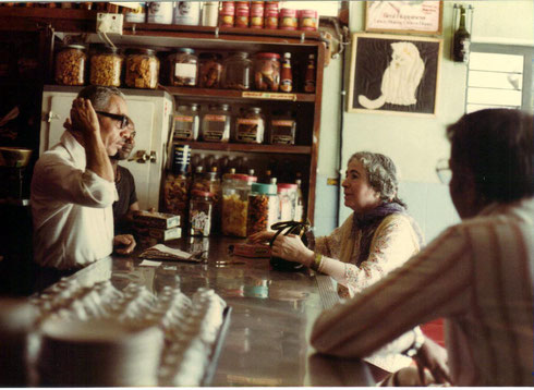 Mani Irani shopping at the canteen with David Fenster observing - Courtesy of Susan White