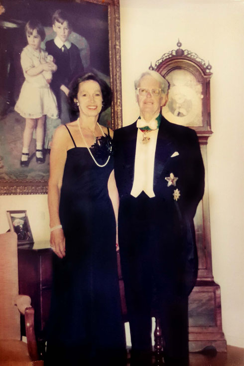 Josephine & Sven Gustav Malmberg in their residence at the Swedish Embassy in New York. Sven was the Swedish Ambassador to the USA. The painting behind the couple is of Josephine & her brother James.