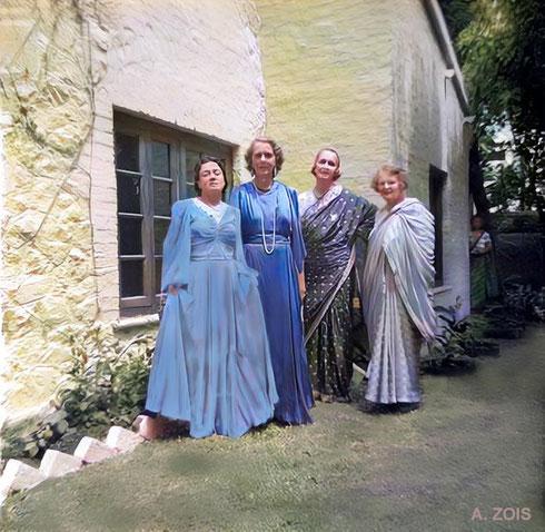 Nasik 1933 - Right to left : Elizabeth Patterson, Norina Matchabelli, Jean Adriel & Delia De Leon