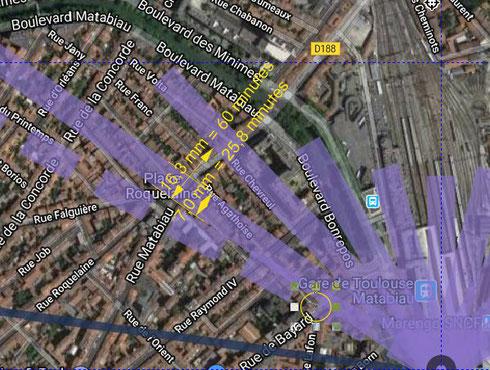 Place Roquelaine 15 janvier 2020 à 9h00 : 16,3 mm pour 60 minutes, durée de l'ombre = (60/16,3)*7 = 25,8 minutes. Plus proche de la tour, le carrefour Bayard/Agathoise (cerclé) devrait rester dans l'ombre plus d'1 heure.