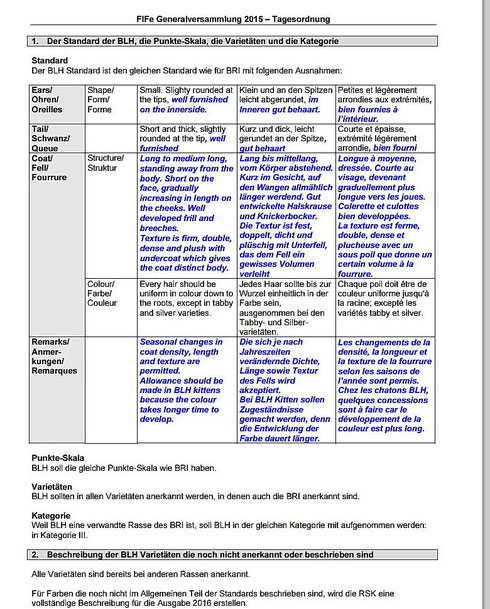 Britisch Langhaarkatze, vorläufiger  Reassekatzenstandard der FIFé, Stand 06/2015