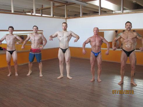 von links nach rechts: Leon Meinecke (Teenage), Bernd Erlat (Men's Physique), Kevin Frank (Schwergewicht), Jürgen Beck (Master 2), Erich Hufnagl
