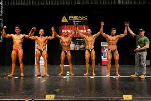 Die Top 5 (v. l. n. r.): Dennis Bohne (5.), Jens Berthold (2.), Meeko Mikolaschek (1.), Mirko Burger (4.), Frank Pfraumer