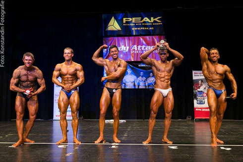Die Top 5 (v. l. n. r.): Josef Fraunhofer (5.), Jakub Mily (3.), Lukas Maxerath (2.), Eduardo Carillo (1.), Benny Braun (4.)