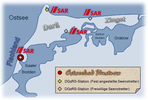 Auf Fischland-Darß-Zingst, der größten Halbinsel Deutschlands, gibt es insgesamt vier Stationen der DGzRS (Wustrow, Darßer Ort, Prerow/Wieck und Zingst). Damit kann eine hohe Sicherheit auf Bodden und Ostsee gewährleistet werden.
