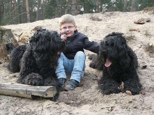 Teamwork: Oskar, Lukas und Frisby im Sandrausch