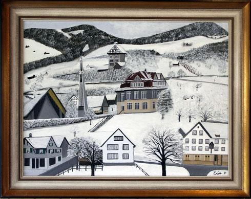 Kirche und Schulhaus Lüchingen gemalt von P. Langenegger, 1984