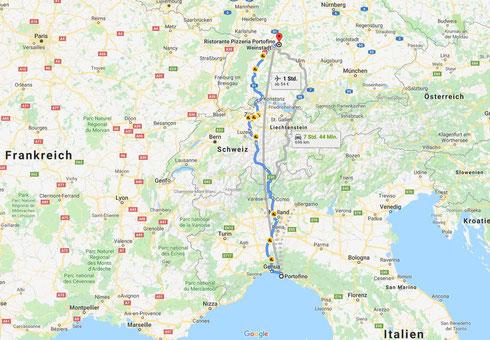 Portofino Italien Anfahrt Navi Navigation italienische Riviere direkt anfahren Route Routenplaner