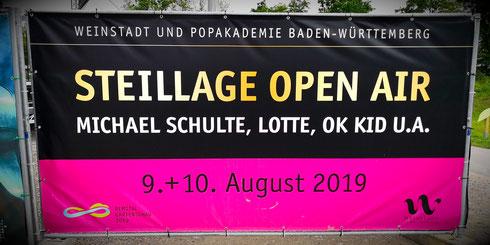 Steillage Open Air Michael Schulte Lotte, OK Kid Weinstadt Popakademie Baden-Württemberg Remstal Gartenschau Mühlwiesen Bauzaun Plakat