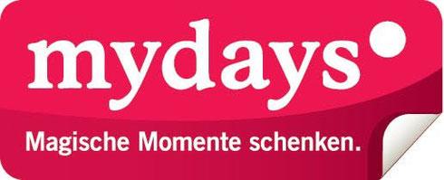 mydays magische Momente schenken Logo Erlebnisgeschenke Action Wellness Dinner Kurztrips Weinstadt