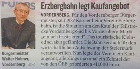 Bericht Kleine Zeitung vom 29. April 2014