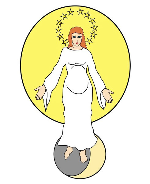 L'apôtre Jean dans le livre de l'Apocalypse, voit dans le ciel une femme céleste entourée d'astres lumineux: le soleil l'enveloppe, 12 étoiles forment une couronne sur sa tête et la lune repose sous ses pieds. Il existe un lien fort entre la femme et Dieu