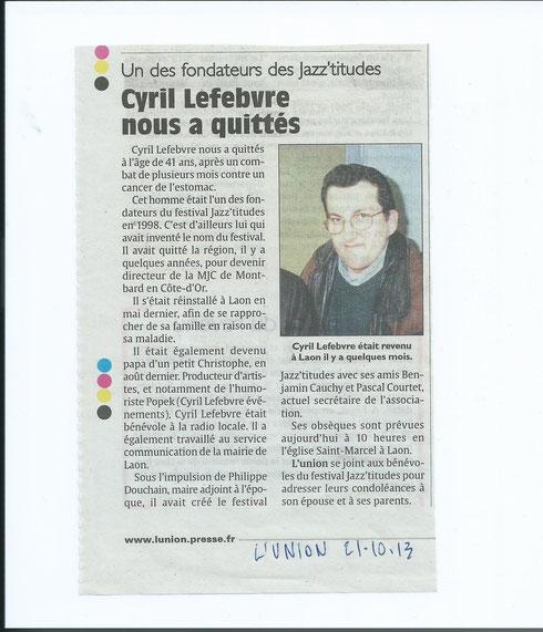 Nécrologie Cyril Lefebvre