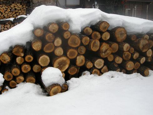 古民家の庭に待機で薪になる