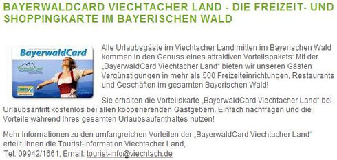 Foto-Link zur Bayerwald Card im Viechtach Land