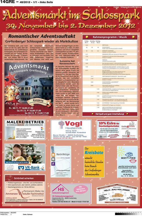 Anzeige im Kreisbosten für adventsmarkt im Schlosspark Greifenberg 2012