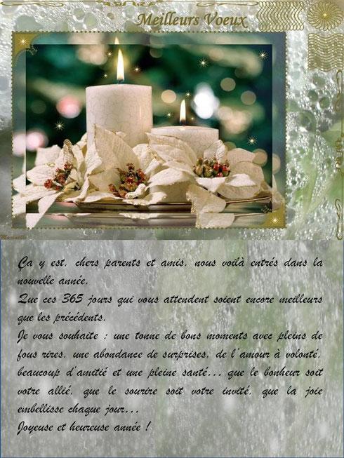 Meilleurs voeux : texte voeux avec féerie blanche et or