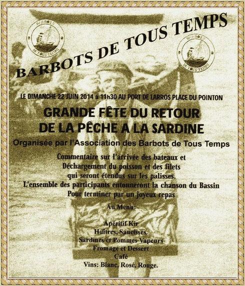 """Affiche de la """"Grande Fête du Retour de la Pêche à la Sardine"""" à Gujan-Mestras, Bassin d'Arcachon (33)"""