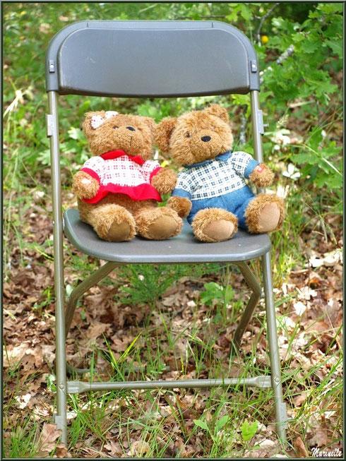 Melle et Mr Nounours sur une chaise à la Fête de la Nature 2013 au Parc de la Chêneraie à Gujan-Mestras (Bassin d'Arcachon)