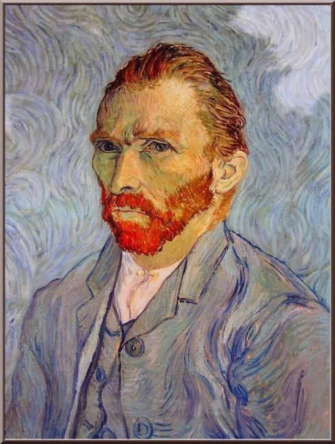 """Tableau """"Autoportrait"""" de Van Gogh dans le jardin du monastère de Saint Paul de Mausole à Saint Rémy de Provence (Alpilles - 13)"""