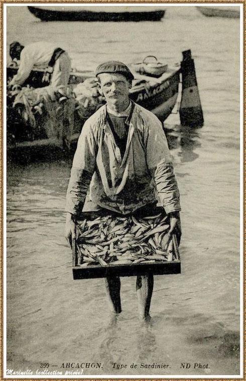 Pêcheur de sardines ou sardinier de retour de la pêche, Bassin d'Arcachon (33)