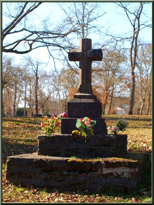 Croix au-dessus de la fontaine guérisseuse Saint-Eutrope à Saugnacq-et-Muret (40)