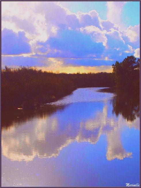 Reflets au soleil couchant dans un réservoir, Sentier du Littoral, secteur Moulin de Cantarrane, Bassin d'Arcachon