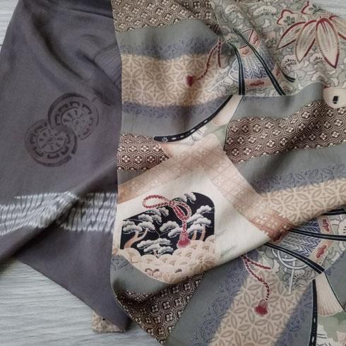 Uni sex écharpe en soie de kimono nagajuban
