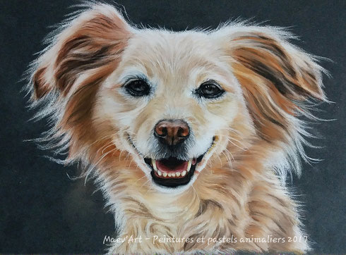 Soft pastel painting of a dog