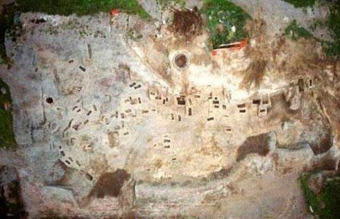 Le site de fouille de la « petite Pompéi » - Vue du dessus