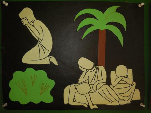 Jesus hat Angst. Er betet. Seine Freunde sind eingeschlafen.
