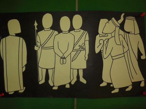 Vor dem römischen Statthalten Pontius Pilatus wird Jesus angeklagt.