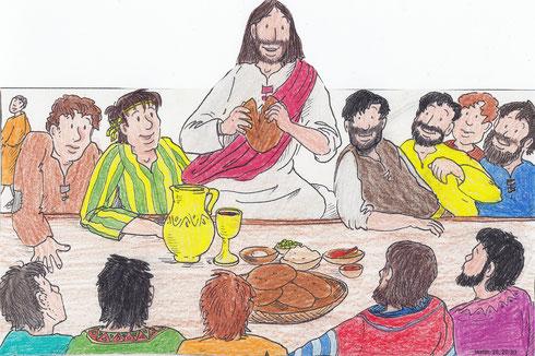 Jesus isst mit seinen Freunden.