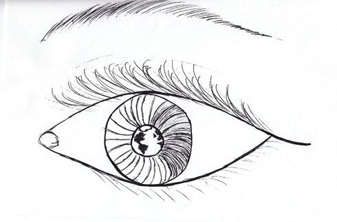 gemaltes Auge mit Weltkugel in der Iris
