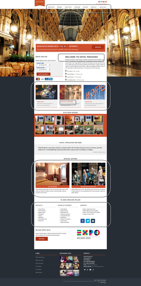 Esempio delle aree principali di un sito
