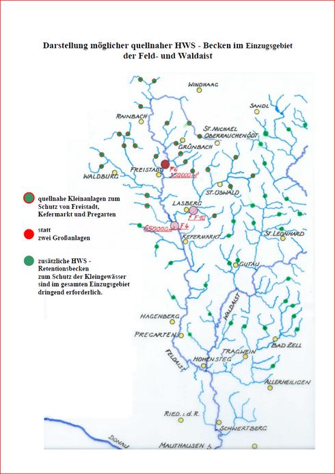 Gewässerlandkarte mit möglichen Beckenstandorten