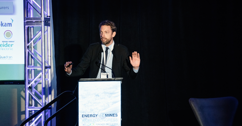 THEnergy CEO, Thomas Hillig, during a presentation at the Energy and Mines World Congress 2019 in Toronto