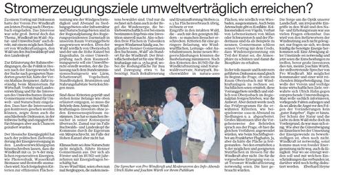 Informationsveranstaltung Oberjosbach: Stromerzeugungsziele umweltfreundlich erreichen?