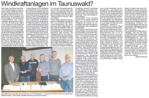 Informationsveranstaltung Engenhahn: Windkraft im Taunuswald?