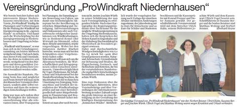 Mitgliederversammlung Pro Windkraft Niedernhausen