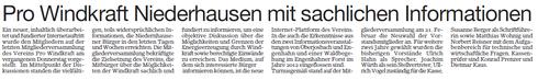 Pro Windkraft Niedernhausen mit sachlichen Informationen