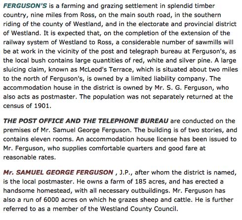 Cyclopeida entry on 'Ferguson's' in south Westland, New Zealand.