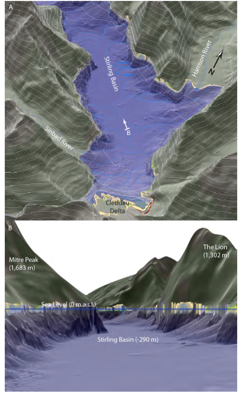 Vulcan 3-D model showing submarine avalanche sediments in the Stirling Basin of Milford Sound (Contour interval 100m) using subaerial and bathymetric Digital Elevation Models (from Dykstra 2012 p.104)