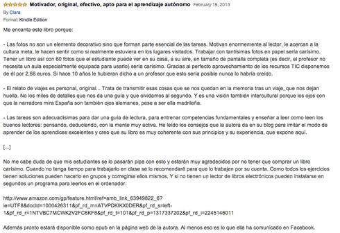 Opinión de un lector dejada en Amazon