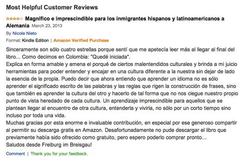 Opinión de una lectora en Amazon.com