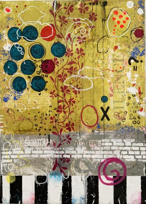 Artigkeit, Claudia Karrasch, Studio, Bonn, Malen, Kunst, Abstrakte Malerei, Semita 2021, Acryl, Acrylmarker, Ölkreide, auf Leinwand, 50 X 70 X 70 cm