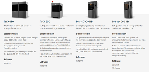 Stereolitografie ProJet 6000 + 7000 und ProX 800 + 950